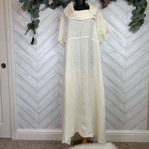 FLAX Cowl Neck Maxi short sleeve dress in Large